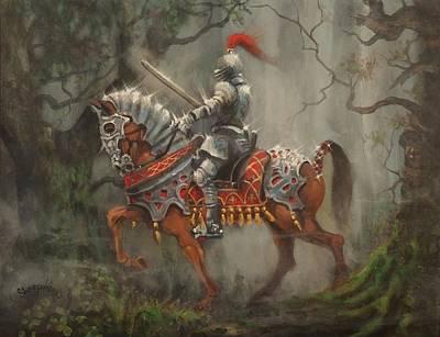 A Knight In Shining Armor Print by Tom Shropshire