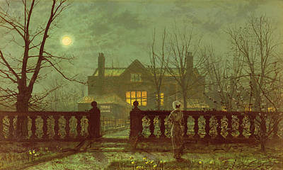 A Lady In A Garden By Moonlight Print by John Atkinson Grimshaw