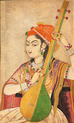 A Lady Playing The Tanpura Print by Celestial Images