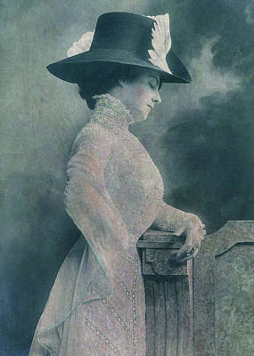 Petrol Green Digital Art - A Lady Ponders by Sarah Vernon