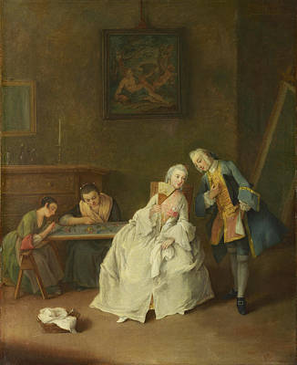Pietro Longhi Painting - A Lady Receiving A Cavalier by Pietro Longhi