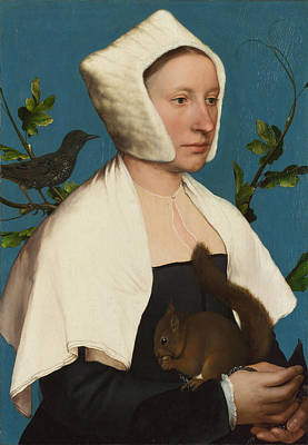 Starlings Painting - A Lady With A Squirrel And A Starling by Hans Holbein the Younger