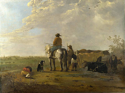 Aelbert Cuyp Painting - A Landscape With Horseman Herders And Cattle by Aelbert Cuyp