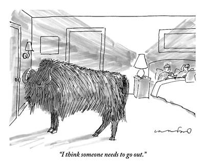 Buffalo Drawing - A Large Buffalo Stands Near The Door by Michael Crawford