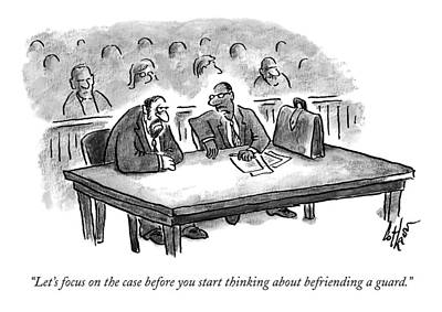 Jail Drawing - A Lawyer Speaks To His Client In Court by Frank Cotham