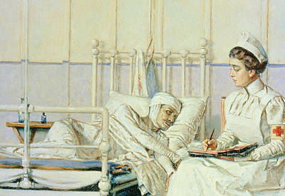 Bed Painting - A Letter To Mother by Piotr Petrovitch Weretshchagin