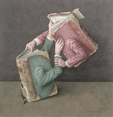 Bookworm Painting - A Literary Struggle by Jonathan Wolstenholme