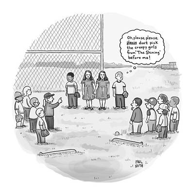 Shine Drawing - A Little Boy Waiting To Be Picked For A Baseball by Paul Noth