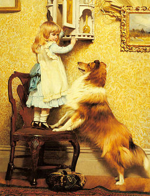 Puppy Digital Art - A Little Girl And Her Sheltie by Charles Burton Barber