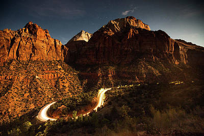 Zion National Park Photograph - A Long Exposure Of Cars Driving by Ben Horton