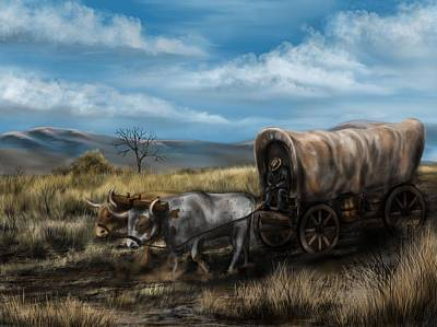 Old Wooden Wagon Painting - A Long Journey - Covered Wagon On The Prairie by Ron Grafe