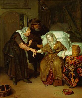 A Maid Taking A Ladys Pulse Print by Richard Brackenburgh