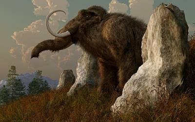 A Mammoth On Monument Hill Print by Daniel Eskridge