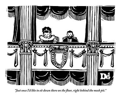 A Man And A Woman Are Sitting In The Balcony Print by Drew Dernavich