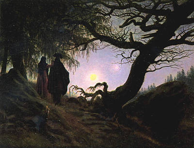 Contemplating Painting - a Man and a Woman Contemplating the Moon by Philip Ralley