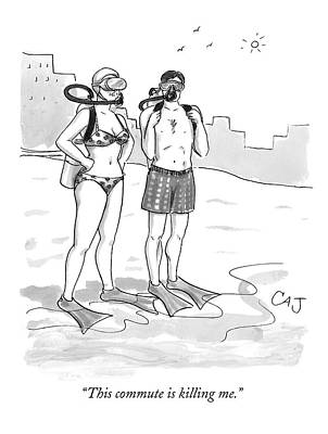 Scuba Diving Drawing - A Man And A Woman In Swimsuits And Diving Gear by Carolita Johnson