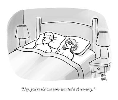 A Man And A Woman Lie In Bed Print by Paul Noth