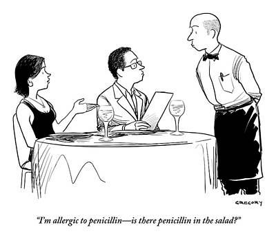 A Man And Woman Are Seated At A Restaurant Table Print by Alex Gregory