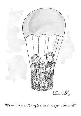 A Man Asks A Woman In A Hot-air Balloon Print by Victoria Roberts