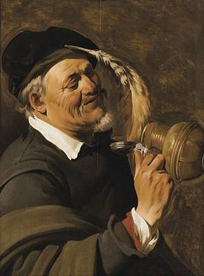 A Man Drinking From An Earthenware Flagon Print by Celestial Images
