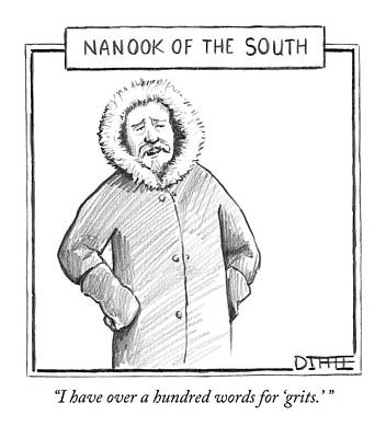 A Man In An Eskimo Coat Print by Matthew Diffee