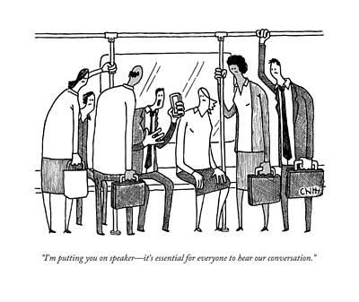 A Man On A Crowded Subway Print by Tom Chitty