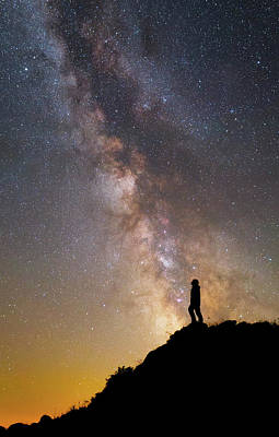 A Man On A Mountain Under The Milky Way Print by Yuri Zvezdny