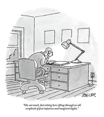 A Man Sits At A Desk Print by Jack Ziegler