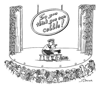 Sit-ins Drawing - A Man Sits On Stage Repairing Shoes In Front by Joe Dator