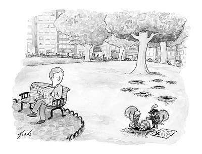 Squirrel Drawing - A Man Sitting In The Park Notices Pirate by Tom Toro