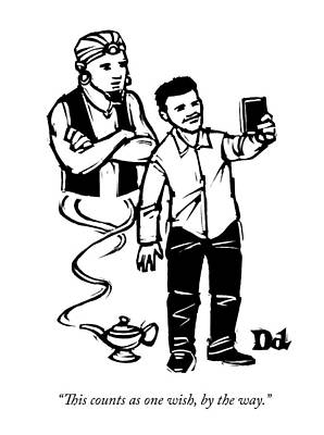Selfie Drawing - A Man Takes A Cell Phone Selfie With A Genie by Drew Dernavich