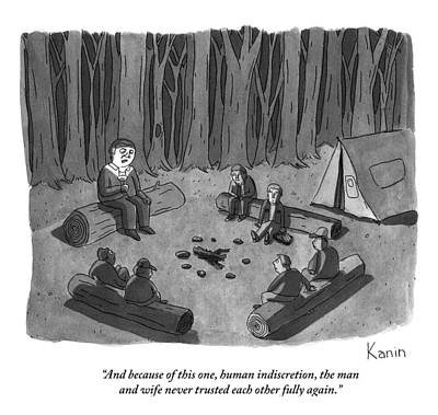 A Man Tells A Scary Story To Campers Print by Zachary Kanin
