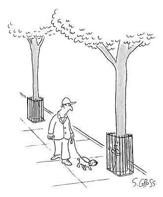 Cage Drawing - A Man Walks His Dog Past A Tree Which Holds Onto by Sam Gross