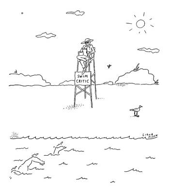 A Man With A Notebook Sits In A Lifeguard Chair Print by Liana Finck
