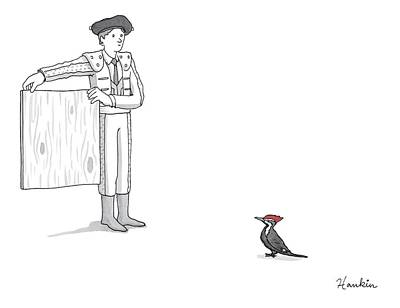 Woodpecker Drawing - A Matador Provokes A Red-headed Woodpecker by Charlie Hankin