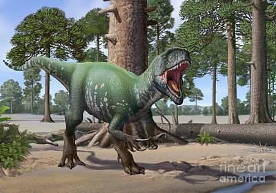 Anger Digital Art - A Megaraptor Lets Out A Vicious Roar by Sergey Krasovskiy