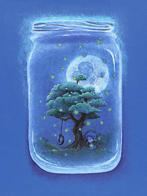 Lightning D Drawing - A Memory Jar by David Breeding