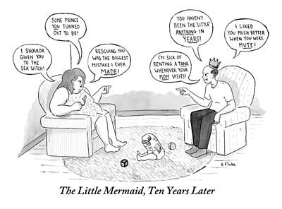 Mermaid Drawing - A Middle Aged Man And Woman Sit Across From Each by Emily Flake
