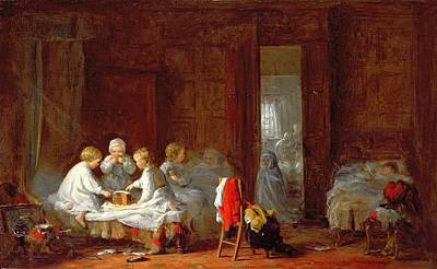 Dormitories Painting - A Midnight Feast, 1866 by Frederick Daniel Hardy
