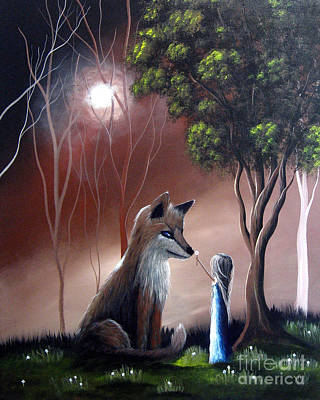 Red Fox Painting - A Midnight Moment By Shawna Erback by Shawna Erback