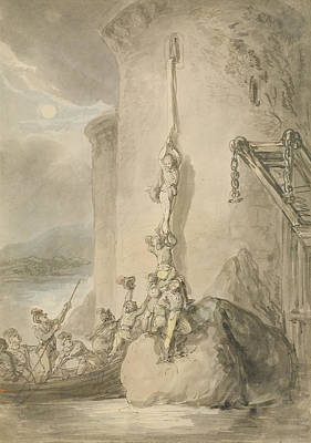 Escape Photograph - A Military Escapade, C.1794 Pen & Ink With Wc And Wash Over Graphite On Paper by Thomas Rowlandson