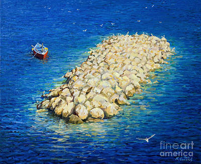 Flying Seagull Painting - A Moment Of Eternity by Kiril Stanchev