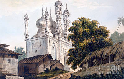 A Mosque At Gazipoor Print by William Hodges