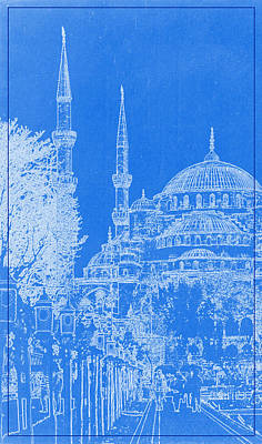 Istanbul Painting - A Mosque In Istanbul Blueprint by Celestial Images