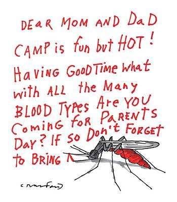 Bite Drawing - A Mosquito Writes In Blood A Letter Home by Michael Crawford