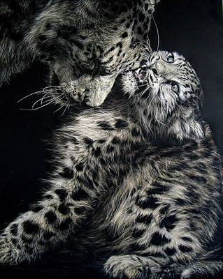 Scratchboard Painting - A Mother's Love by Lesley Barrett