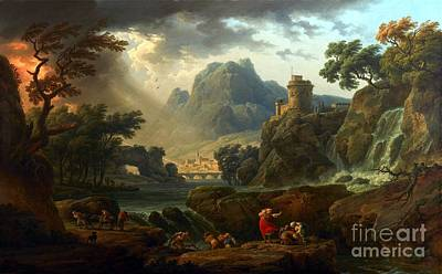 People Painting - A Mountain Landscape With An Approaching Storm by Celestial Images