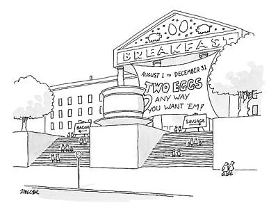 Breakfast Drawing - A Museum-like Building Is Dedicated To Breakfast by Jack Ziegler