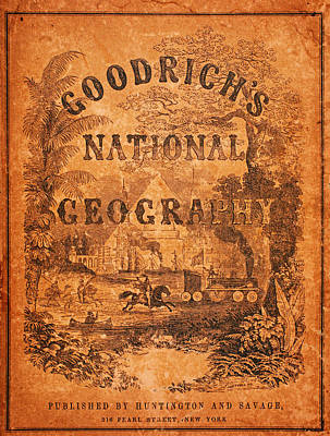 Poster Painting - A National Geography For Schools With A Globe Map On A New Plan New York Huntington And Savage 1845 by MotionAge Designs
