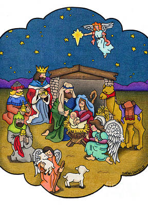 Nativity Drawing - A Nativity Scene by Sarah Batalka